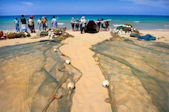 Karpaha Sands: Fishermen drying their nets back from fishing - traditional culture at your footstep