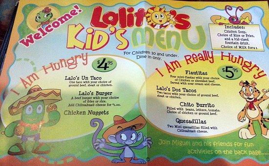 Lalo's Mexican Restaurant Schaumburg: Lalo's kid's menu