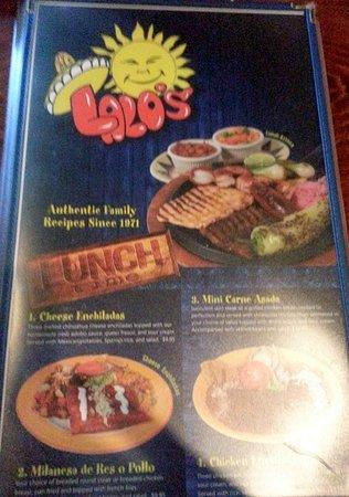 Lalo's Mexican Restaurant Schaumburg: reverse of lunch menu
