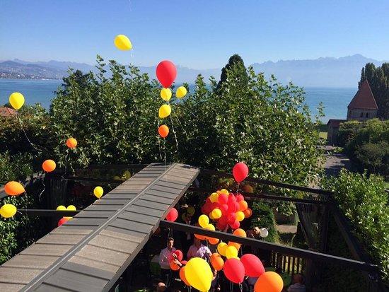 Saint Sulpice, Ελβετία: Terrasse avec vue panormaique sur le lac Léman