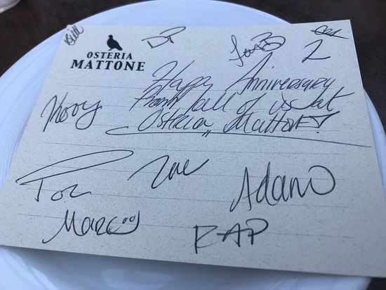 Osteria Mattone: Anniversary Card signed by staff