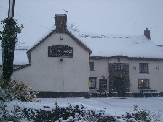 The Bull And Dragon : You can't tell but there's a brand new thatched roof under all that snow!