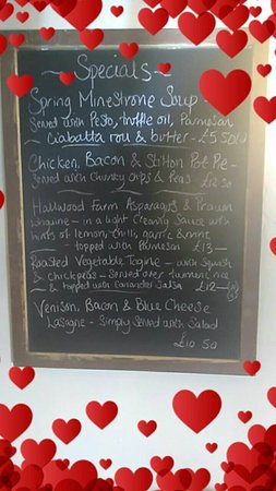 The Bull And Dragon : An example of our Specials Board
