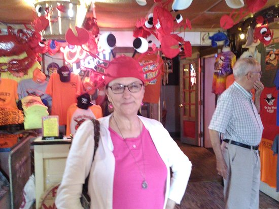 Crabby Dick's: Trying on Crab Hat in the gift shop.