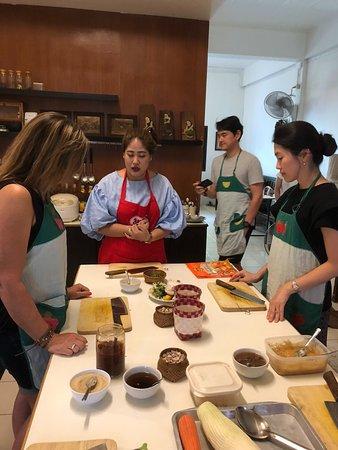 Basil Cookery School : Wan instructing us