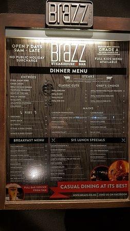 Brazz Steakhouse & Bar: The menu