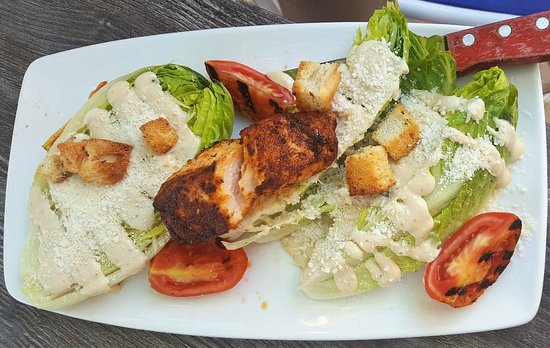 Clear Sky on Cleveland : Caesar salad with blackened salmon