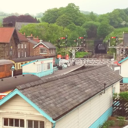 View over Grosmont station with Station Tavern seen left of the signal box