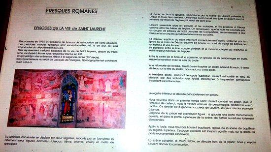 Eglise Collégiale Saint-Nicolas : Explication des fresques de St Laurent