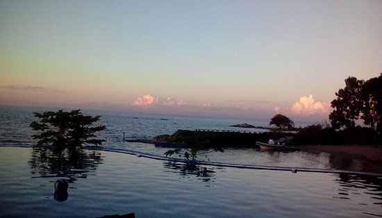 Maleri Island, Malawi: The pool appears to blend with the lake.only the papaya tree tops laden with fruit break th
