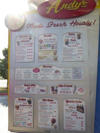 Andy's Frozen Custard : Menu