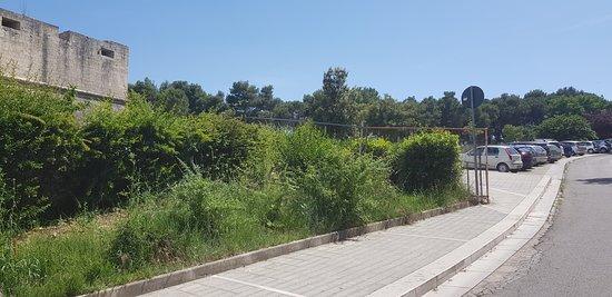 Parco del Castello: Particolare parte anteriore al castello,piccola area parcheggio auto