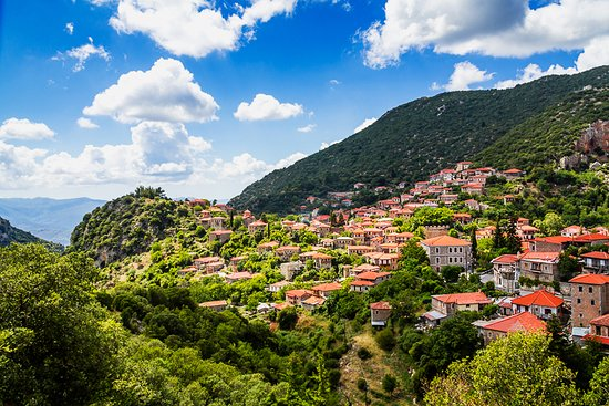 View of the Peloponnese mountain town of Stemnitsa.