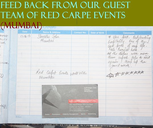 Charming Chicken : FEED BACK FROM OUR GUEST TEAM OF RED CARET EVENTS PVT L.T.D FROM (MUMBAI)