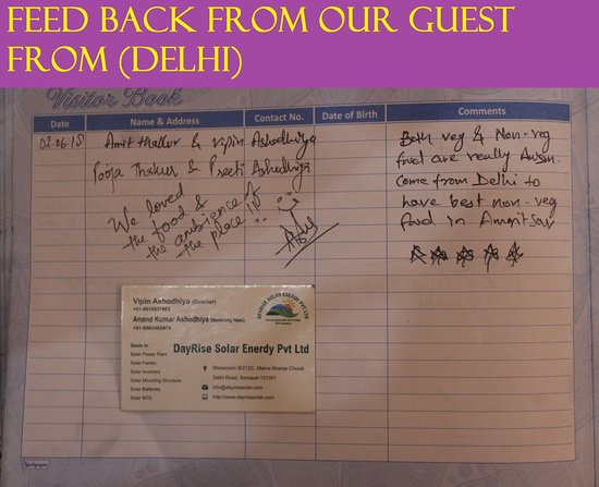 Charming Chicken : FEED BACK FROM OUR GUEST FROM (DELHI))