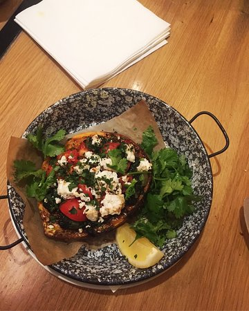 Dobrumba: Kumpir- Sweet potato with spinach, feta and tomatoes