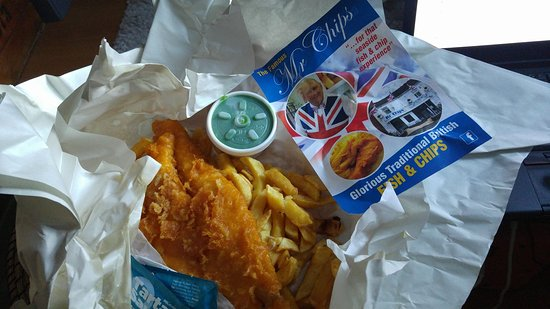 Mr Chips: cod, chips & mushy peas.