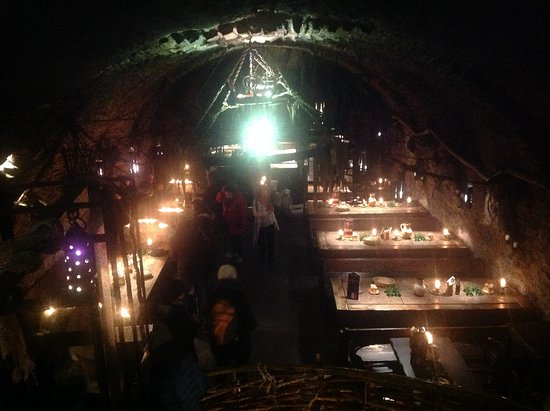 Prague Tour All Inclusive Tour: The medieval restaurant with its gothic and spider theme