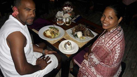 Coral Coast, Fiji: Having dinner with my husband!