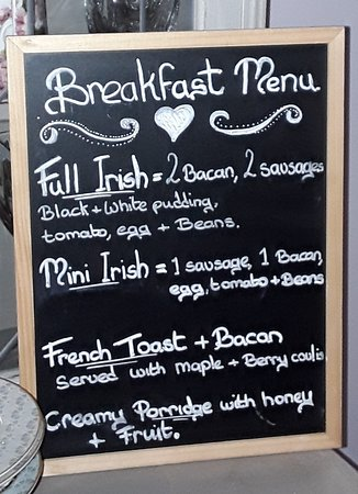 Bay View Boutique Bed & Breakfast: Breakfast Menu