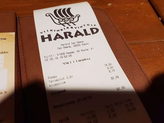 Viikinkiravintola Harald: The bill in question (please read my review)