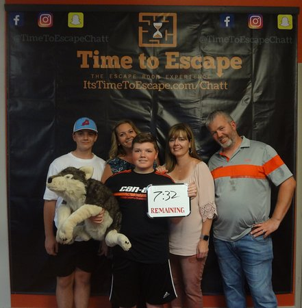 Time to Escape: the Escape Room Experience (Chattanooga): These guys made it look easy! Wolfie is safe!