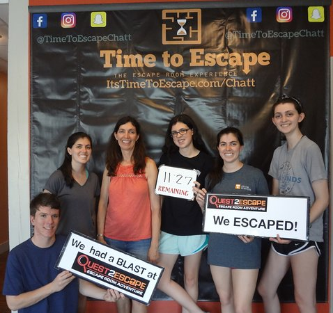 Time to Escape: the Escape Room Experience (Chattanooga): Wow! This group was such a smart bunch, and it shows in their time and victorious smiles!