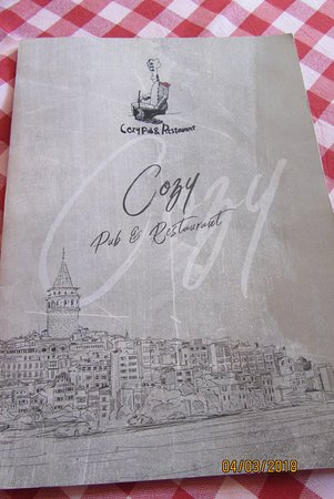 Cozy Restaurant Cafe & Pub: menu booklet