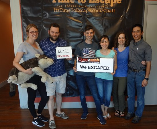 Time to Escape: the Escape Room Experience (Chattanooga): No one had done an escape room before, but they beat this room easily! Great job!!
