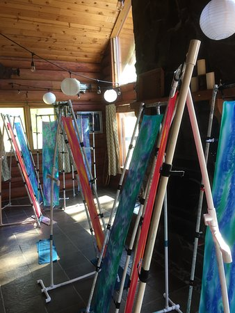 Chugiak, AK: Our handiwork drying as we visited, waded in the stream, and enjoyed a guided tour of Gina's stu