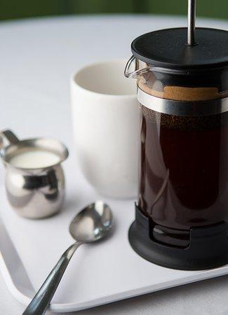 Spoon Restaurant : Organic coffee served in a fresh press pot.
