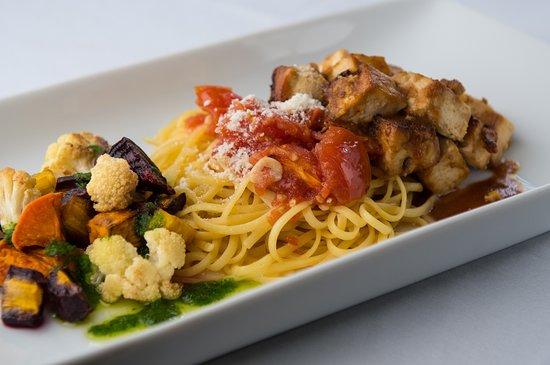 Spoon Restaurant : Vegetarian Options include our Garlic Marinated Organic Tofu with Ginger Tamari Glaze