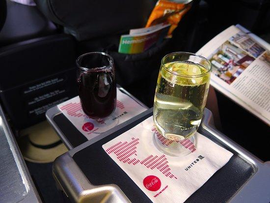 United Airlines: UA2424 737-900 FC - White Wine& Red Wine