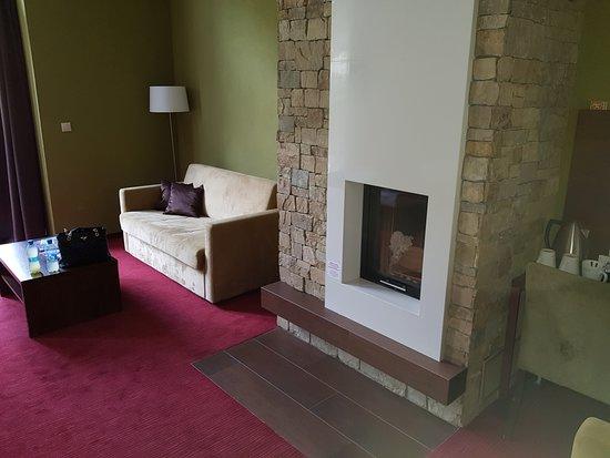 Demänovská Dolina, Slovensko: Sofa and chimney