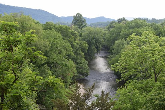 Music Road Resort Inn: Little Pigeon River from room 519, May, 2018.