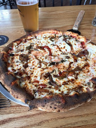 51st State Brewing Co: Roasted veggie pizza with balsamic glaze, wood fired