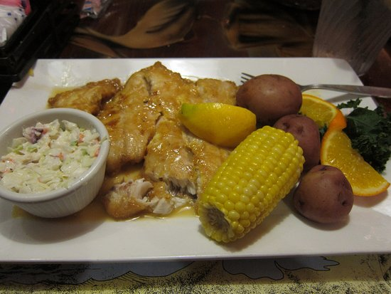 The Fish House: pan fried yellow tail snapper - full meal
