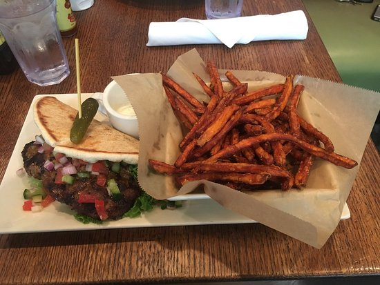 Busboys and Poets: Lamb Burger and Sweet Potato Fries!