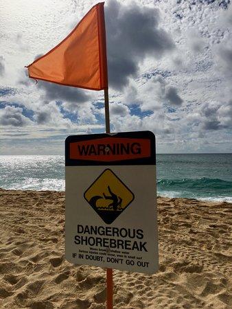 Dangerous Shore Break Sign North Shore