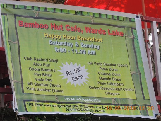 Bamboo Hut Lake Cafe : main menu at the entrance