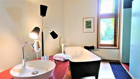 Troisgros : espace de bain et douche de la chambre 34