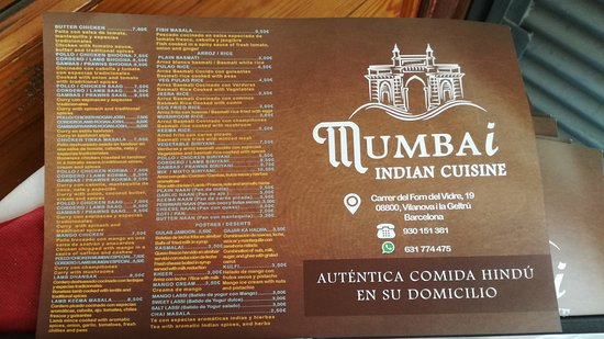 Mumbai restaurant take out delivery menu 1