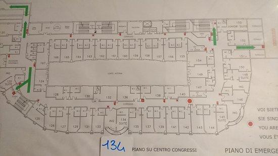 Palace Hotel: planimetria con evidenziata dislocazione camera tripla