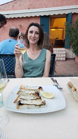 Miralago : Fresh anchovies on rustic bread.