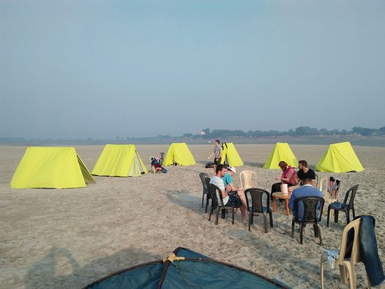 Holy Voyages : Swiss Tent near Holy River Ganga.