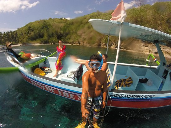 Nusa Ceningan, Indonesia: on the boat fun and happy