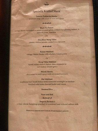 Masala Kraft: 3 course set meal menu