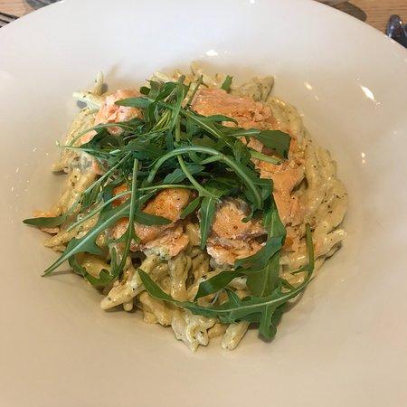 Café & restaurant Na Baště - Prague Castle: salmon over pasta served to group