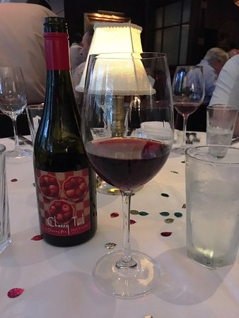The Capital Grille : Birthday decorated table with Cherry Tart Pinot Noir wine!