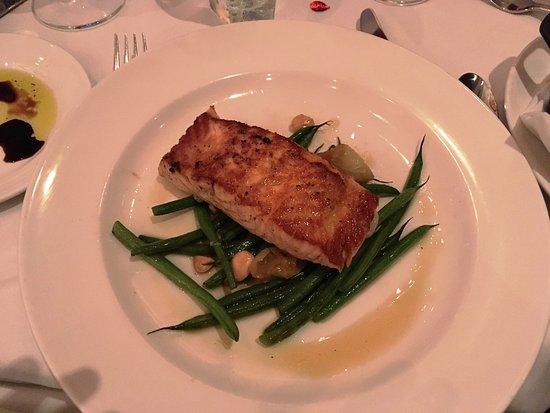 The Capital Grille : Seared Citrus Glazed Salmon with Marcona Almonds and Brown Butter. YUM!